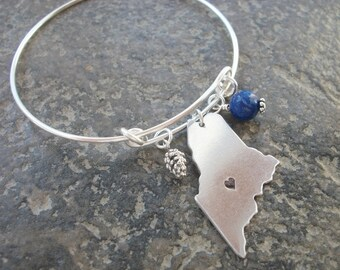 Maine State Aluminum Adjustable Bangle Bracelet - Or Choose Your State - Personalized Home Town - Choice Of Charm - Silver Wire