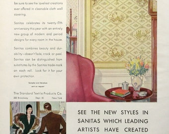 1930 Sanitas Modern Wall Covering Advertisement   Standard Textile Products  Co   1930s Home Decor Advertising