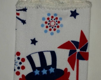 Red, White and Blue Patriotic Owl Hanging Kitchen Towel with Universal Hang