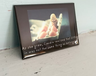 Porcelain Doll Magnet Adventures of Claudia Fitting In Dollhouse Photography Doll Humor