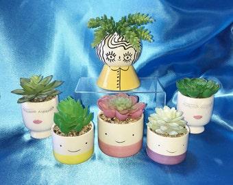 Trendy Face Planter, Succulent Planter, Faux Succulent, Desk Accessory, Artificial Succulent Arrangement, Mini Planter, Succulent Gift