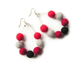 Felted Earrings Felt Earrings Red Grey Black felt Wool Earrings Felted Balls Winter Gift