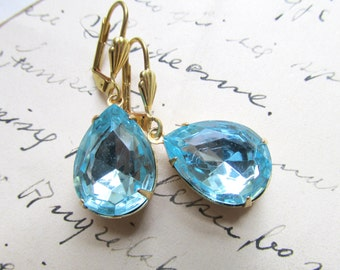 "aqua earrings, vintage aquamarine, rhinestone drop earrings, Downtown Abbey earrings, aqua blue, blue wedding earrings. ""Simplicity""."