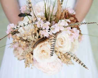 Blush Bouquet, Feather Bouquet, Blush Gold Wedding Bouquet, Rustic Bridal Bouquet, Silk Flower Bouquet, Blush and Gold Bouquet, Boho Bouquet