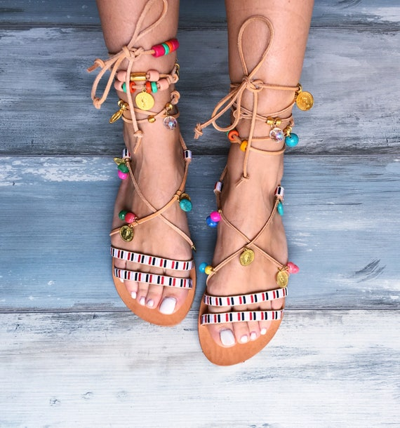 8a6ee62849c84 leather sandals gladiator bohemian beaded Greek Sandals bejeweled ...