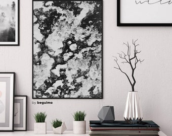 Marble Print, Abstract Art, Marble Texture, Printable Wall Art, Black & White, Monochrome Print, Home Decor, Marble Poster, Digital Download