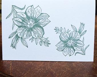 Geranium Floral Letterpress Greeting Card w. Envelope
