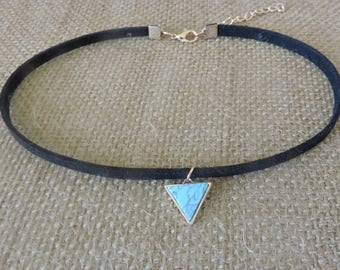 "1/4"" black suede choker with turquoise charm"