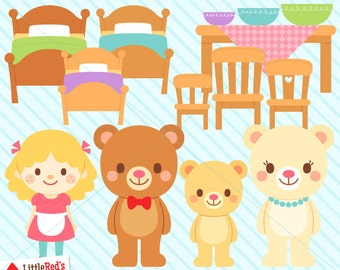 Goldilocks and the Three Bears Clip Art and Digital Stamps - personal and commercial use