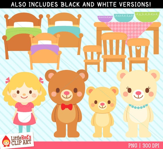 goldilocks and the three bears clip art and digital stamps rh etsy com In Thier House and Goldilocks the Three Bears Clip Art Goldilocks and the Three Bears Chair Clip Art