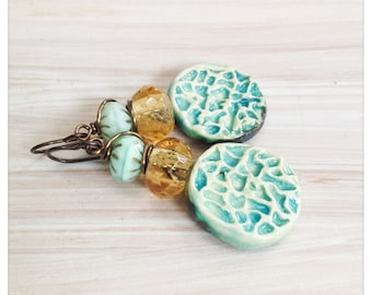 Green ceramic charm earrings - pale green crackle drops - green and yellow earrings