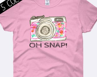 Camera Shirt, Photography Shirt, Photographer Shirt, Oh Snap Shirt, Snapshot Shirt, Photography Clothing, Ladies Shirt, Womens Shirt