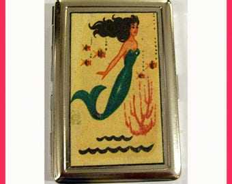 mermaid metal wallet retro vintage pin up cigarette ID business card case rockabilly