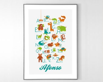 Personalized PORTUGUESE Alphabet Poster with animals from A to Z, BIG POSTER 13x19 inches