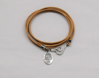 Leather wrap bracelet, Tree