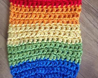 Photoshoot newborn cocoon/Blanket. Rainbow acrylic and cotton yarns.