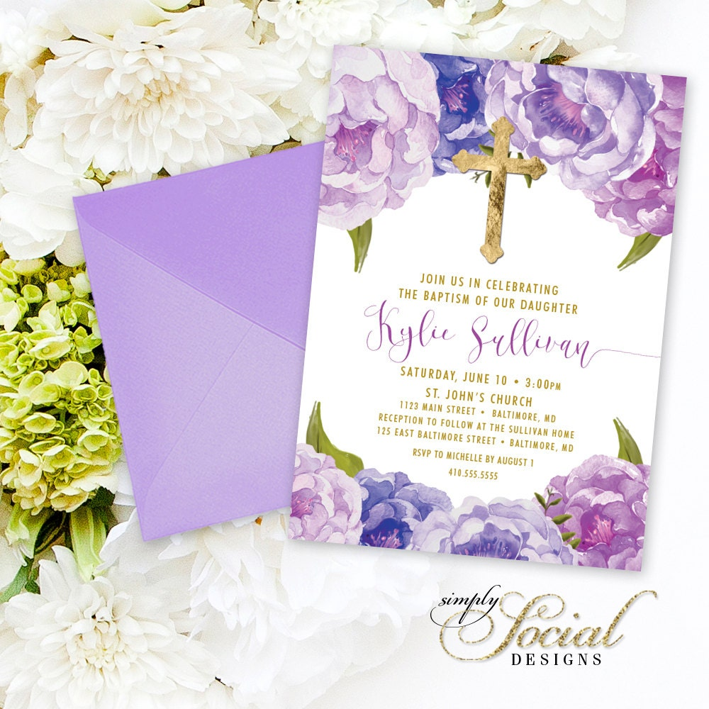 Baptism Invitation First Holy Communion Invitation Purple Peony