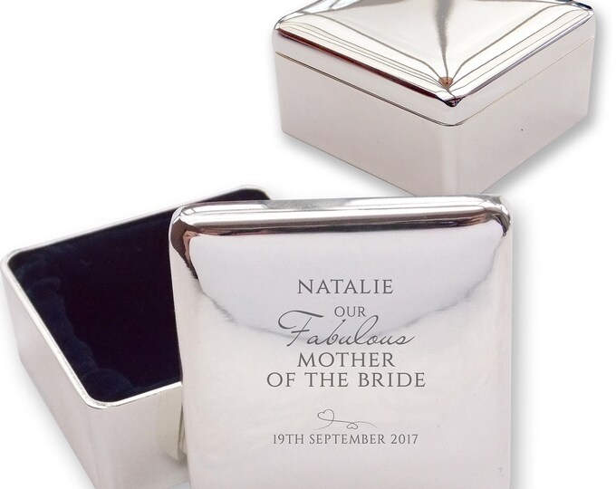 Personalised engraved MOTHER of the BRIDE square shaped trinket box wedding thank you gift idea  - BE6