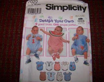 SIMPLICITY pattern 7022 babies romper uncut