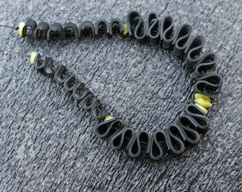 Jade Panther (handmade necklace from recycled bicycle inner tube and beads)