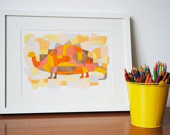 Nursery Art Print Mid Century Modern 'Dinosaur 2' Kids Art Print pink yellow orange grey 8 x 10