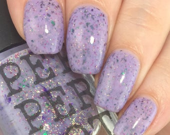 Lavender Purple Nail Polish Chrome Flakies Indie Shop Limited Edition I'm A Sucker For You Pepper Pot Polish Gift For Her Gift Under 15