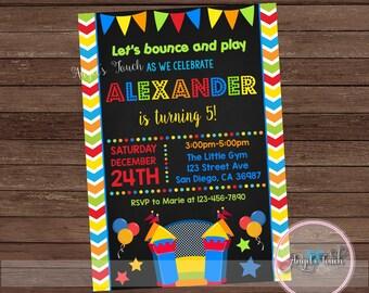 Bounce House Party Invitation, Bounce House Birthday Invitation Chalk, Bouncy House Birthday Party Invitation, Bounce House, Digital File