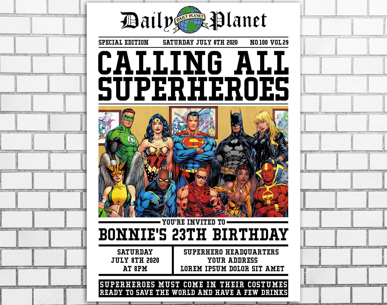 Superhero Birthday Invitation Superhero Birthday Party