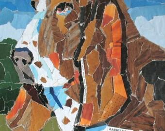 Basset Hound Paper Mosaic Collage  8x10 Original Dog Portrait