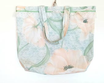 Reusable Shopping Bag Tote Bag | Peach Floral, Green Ribbon & White Lace | Repurposed Fabric | Cloth Market Grocery Bag