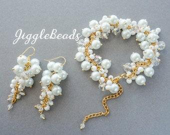 Cluster earrings, pearl earrings, dangle earrings, white pearl earrings, pearl drop earrings, handmade jewelry, pearl earrings set, earrings
