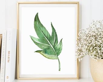 Watercolor Botanical print, Tropical leaf, Botanical Print, Instant Download, Nature Print, Green Watercolor