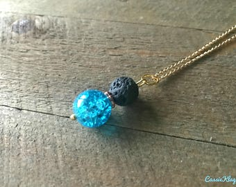 Electric Blue Lava Stone Essential Oil Diffuser Necklace