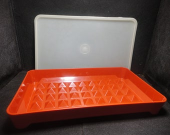 Vintage Tupperware, Paprika Red,Marinater, Deli Meat, Cheese, Hotdog, Bacon Keeper, tray # 1292, gently used