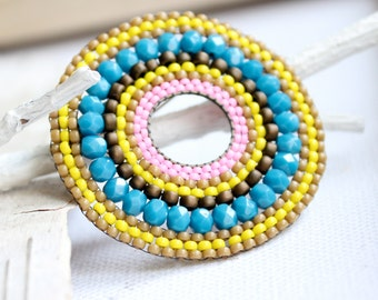 Circle Pin Beadwork Brooch Beaded Taupe Pink Beadwoven Teal Turquoise Bright Neon Yellow
