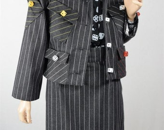 Vintage 1980's Women's Couture Patrick Kelly Paris Advante Garde Pin Stripped Dice Suit