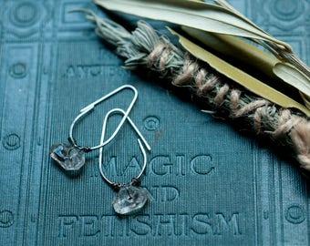 Tibetan quartz and sterling silver earrings, wire wrapped sleep hoops, ombre patina, everyday earrings, elongated hoop earrings.
