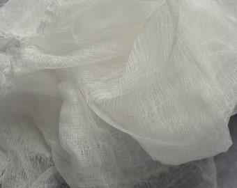 Cheesecloth, scrim, cotton, 2 yards, for felting, pure white