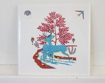 Vintage, Ceramic Tile, Blue Deer, Southwestern Motif, Trivet, Hanging Plaque