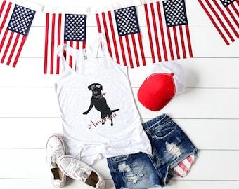Patriotic Pooch- Black Lab, Labrador Retriever Red, White, & Blue vintage style Flowy Racerback womens' Tank Top