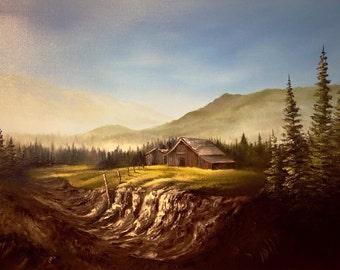 "Cabin Farm Oil on canvas Painting 24x18"""