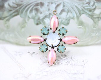 AB Pink Pacific Green Opal Blue Powder Vintage Stones Starburst Pendant Swarovski Crystal Brass Setting 30mm