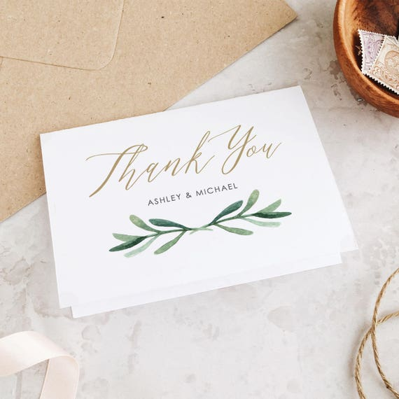 Greenery Thank You Card Template Wedding Thank You Cards