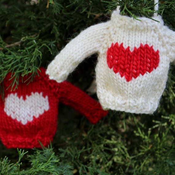 Knitting Pattern Christmas Ornament Heart Mini Sweater