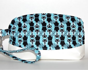 Black Kitties Wristlet Purse - Cat Purse, Purse Organizer, Smartphone Clutch, Diabetic Supply Bag, Blue Green, Wrist Strap, Evening Handbag