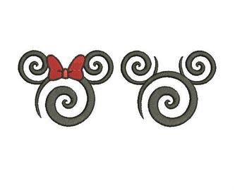 25 Sizes Swirl Swirly Scroll Disney Minnie Mickey Mouse Head Ears Design Embroidery Fill Machine Instant Download EN2136F2_EN2210F2