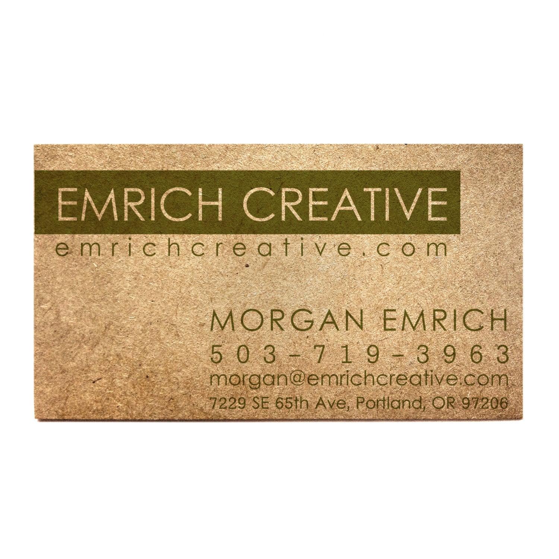 50 Kraft business cards Designed Green business card