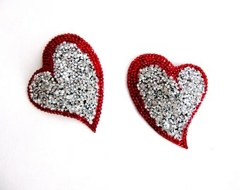 Marico Heart Nipple Pasties,Rhinestone Nipple Pasties,Silver And Red Nipple Pasties,Valentines Day Gift,Nipple jewelry,Valentine's Day Gifts