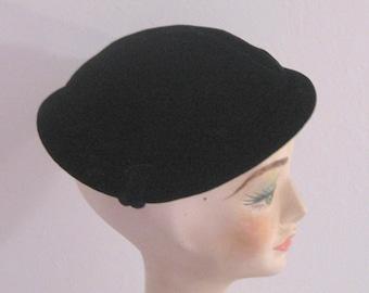 Black Velvet Hat . velvet topper . velvet beret  . black velvet topper . velvet hat . art deco topper