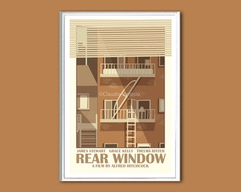 Movie poster Rear Window retro print in various sizes